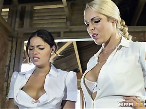 insane lezzies Ava Dalush and Victoria Summer tear up the constant guy