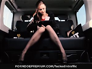 ravaged IN TRAFFIC - Footjob and car fuck-fest with Tina Kay