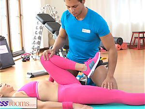 FitnessRooms Gym schoolteacher pulls down her yoga trousers