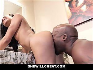 SheWillCheat - hotwife wife penetrates big black cock in shower