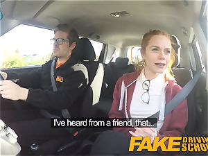 faux Driving school ultra-cute red-haired Ella Hughes plumbs