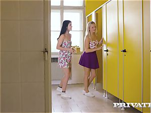 Private.com - all girl 3some in the restroom