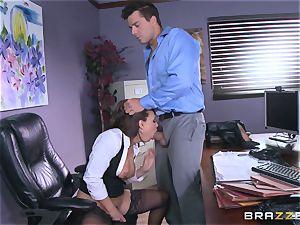 Eva Angelina gets her bosses yam-sized man meat via her desk