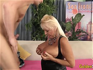 Floppy breasted granny screws a hairless dude