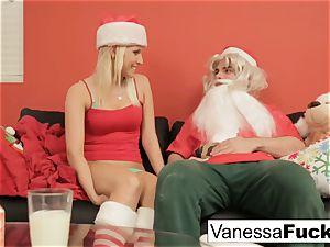 Vanessa letting Santa poke her cock-squeezing wet slit