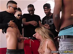 Cherie DeVille Gives blowage To A group Of dark-hued fellow