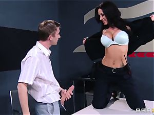 huge-titted customs officer in the form of questioning of a youthfull man with a enormous beef whistle