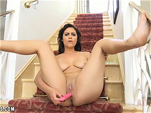 Blair Summers tugging with a sizzling rosy dildo