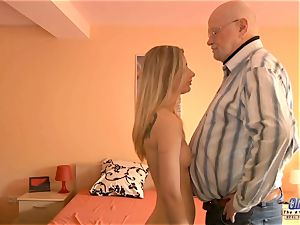 young secretary plumbs elder dude chief tears up sumptuous doll