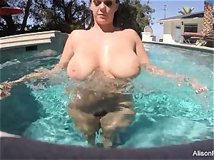bodacious Alison swims and milks in the pool