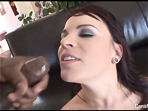 Dana gets her bum wedged with a ample ebony penises
