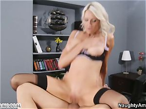 brazen chesty manager is exploited by her fresh worker