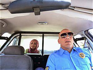 mischievous Aidra Fox twat tucked balls deep by policeman