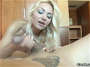 mischievous blonde pleasing a meaty meatpipe with her palms