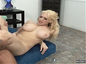 Smoking super-steamy blondie with ginormous bra-stuffers gets humped stiff