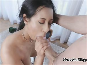 bodacious oiled Latina luvs hefty man meat in her facehole