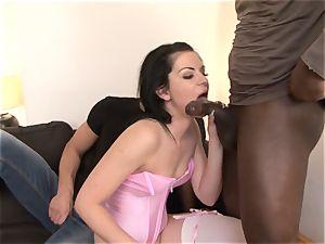 husband Shares pinkish undergarments wifey with dark-hued man
