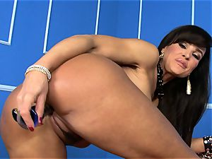 sumptuous Lisa Ann sticks her faux-cock deep in her moist cooch