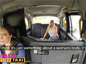 gal faux taxi buxom platinum-blonde in lesbian sexual anal invasion