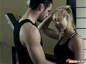 Kayden Kross pokes her trainer Charles Dera