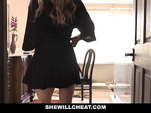 SheWillCheat mischievous wifey boned by husbands employee