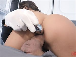 Christiana Cinn bound up in a van and assfucked