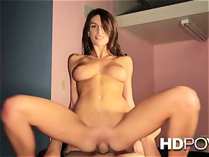 HD pov hot black-haired with large jugs luvs to juggle salami