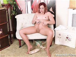 English sandy-haired rips open glossy nude stocking to masturbate