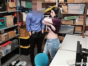 horny black-haired gets caught shoplifting