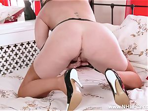 super-naughty crazy nylon high heel garter getting off mummy