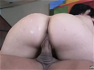 Ava Rose pulverized on the table by a rigid spunk-pump rock hard