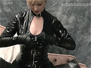 ash-blonde massages leather gloves against large tits humid cunny