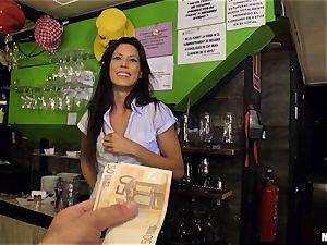 Barmaid Alexa Tomas earns some extra money