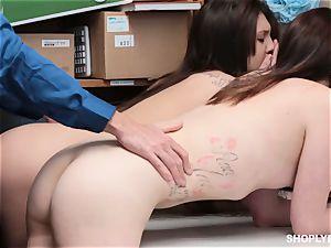 Jojo kiss and Riley Renee sucking of shop cop