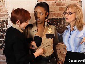 magnificent black cop plumbs her 2 coworkers