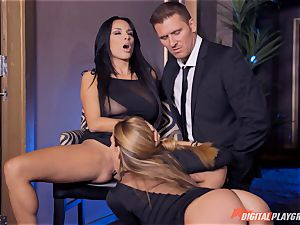 Anissa Kate and Subil bend slip some trouser snake down their pink pretty tacos