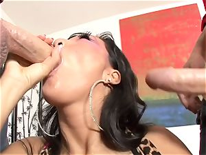 Asa Akira is picked up and romped threesome