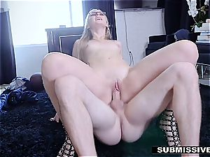 steamy blondie plays a bad lady at the office and gets smacked