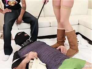 domina Leya makes him munch her internal ejaculation