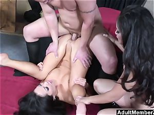 successful guy three way with asian dommes