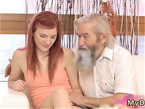 elder and ginormous grandma sudden experience with an senior gentleman