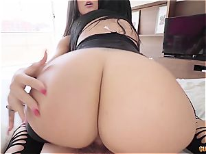 2 Latina babes with astounding butts share Nacho's gigantic dude meat