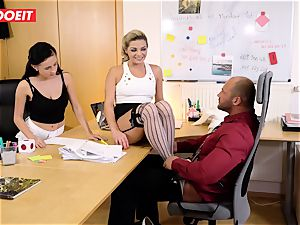 Stepdaughter joins father in pounding the office assistant