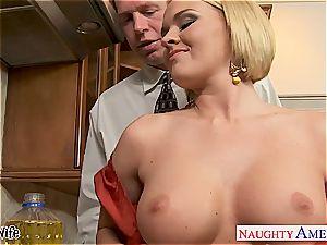 busty wife Krissy Lynn eating spunk in the kitchen