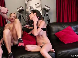 point of view sucking and plumbing with Dava Foxx and Alyssa Lynn