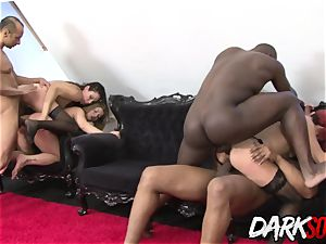 four Mature cuties stretch Their anuses for big black cock and toys