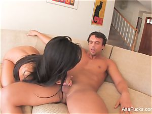 supah fantastic Asa Akira pounds on the bed