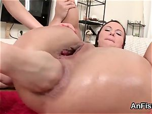 stunning girl-on-girl sweeties are opening up and fist banging assfuck crevasses