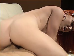 small ginger-haired rides sausage in her socks