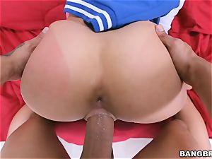 enormous rump dark haired Ashley Adams railing in switch sides cowgirl